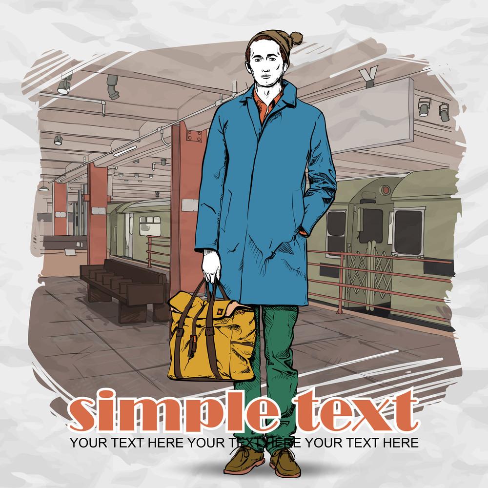 Stylish Dude At Subway Station.  Vector Illustration