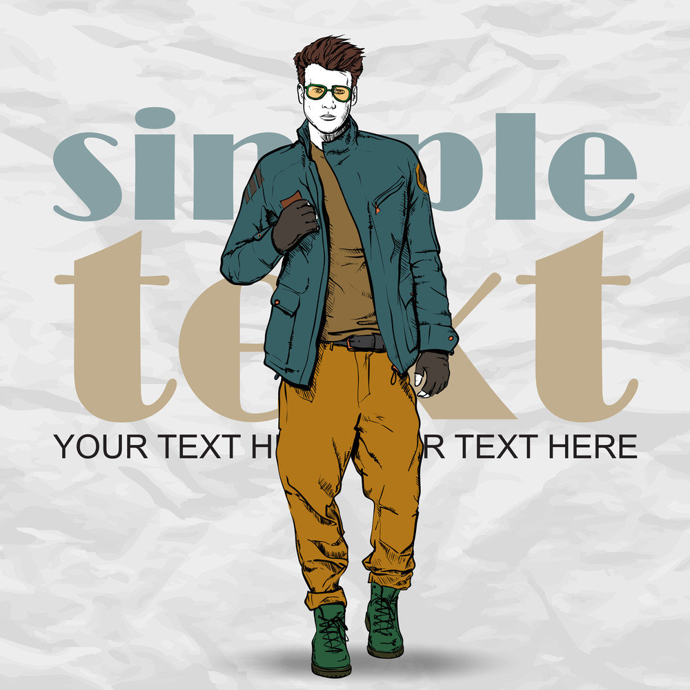 Stylish Dude On A Grunge Background. Vector Illustration.