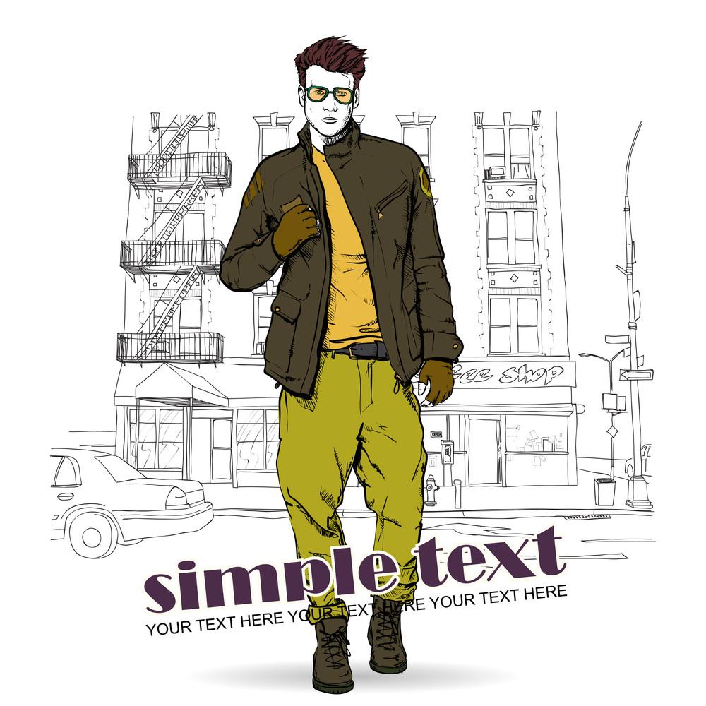 Stylish Dude  On A Street-background. Vector Illustration.