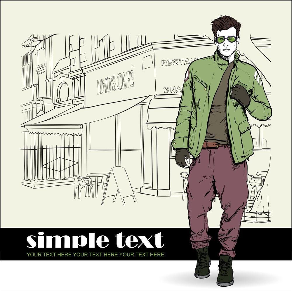 Stylish Dude  On A Street-cafe Background. Vector Illustration.