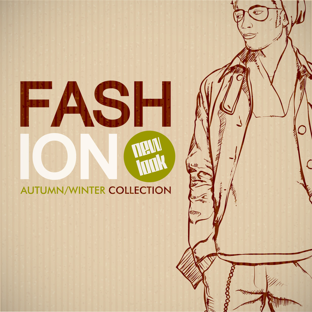 Stylish Dude Sketch On Cardboard Paper. Vector Collection.
