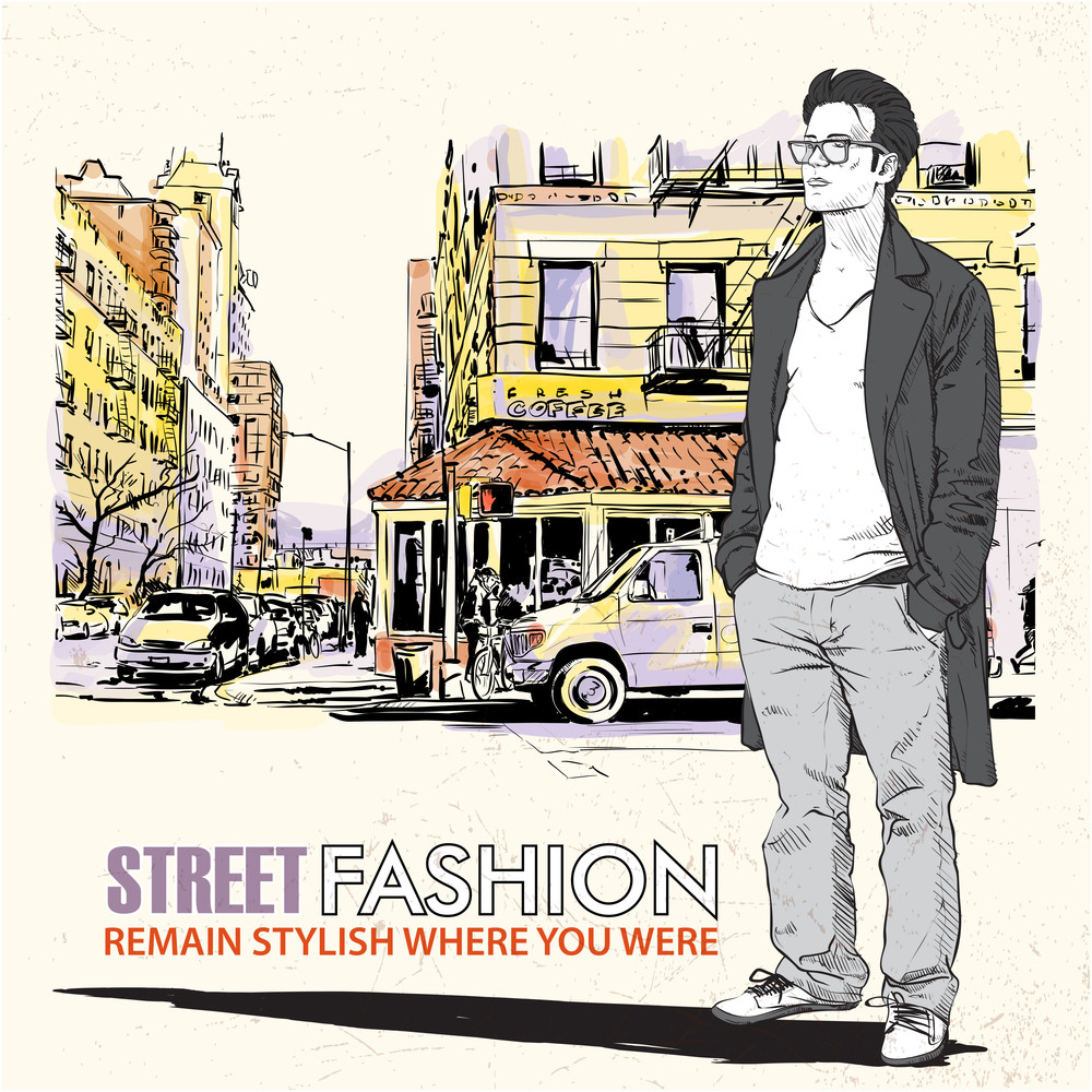 Stylish Dude With Bag  On A Street-background. Vector Illustration.