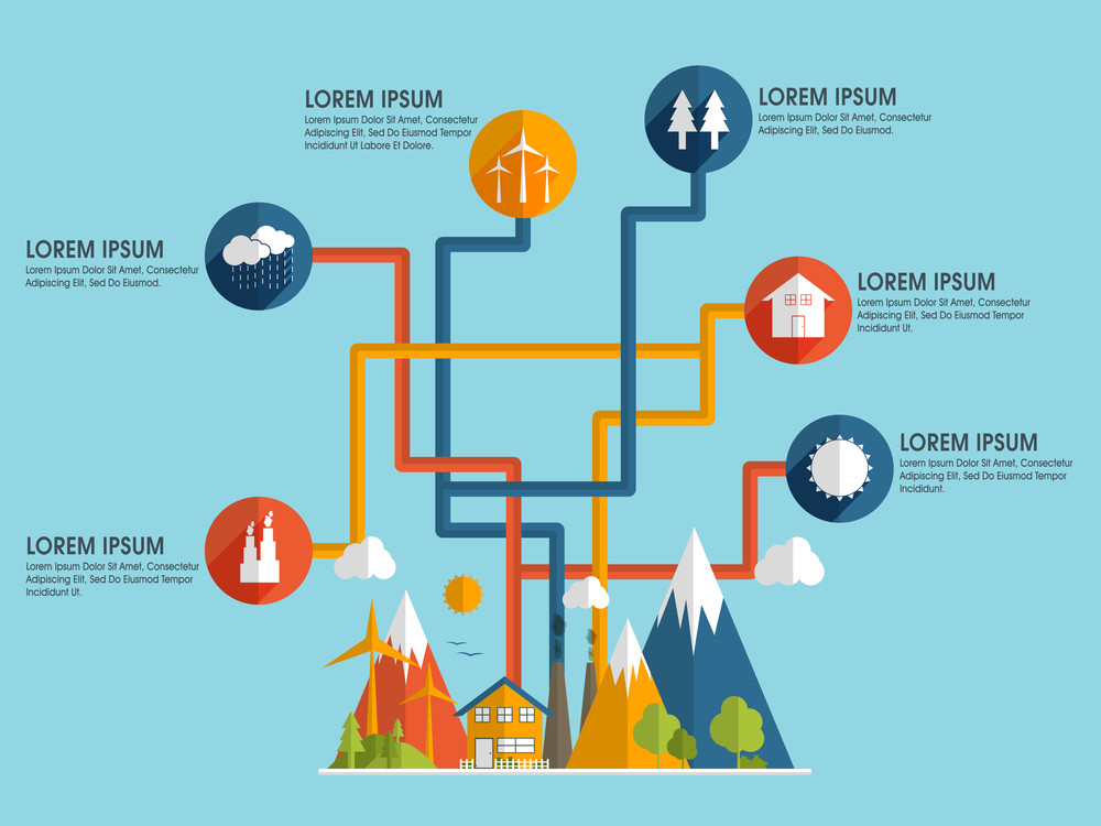 Stylish ecological infographic layout with colorful ecological icons for save ecology concept.