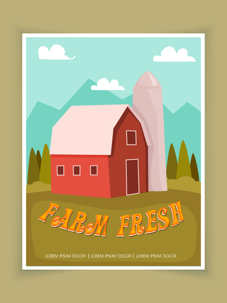 Stylish Farm Fresh flyer template or brochure design with nature view.