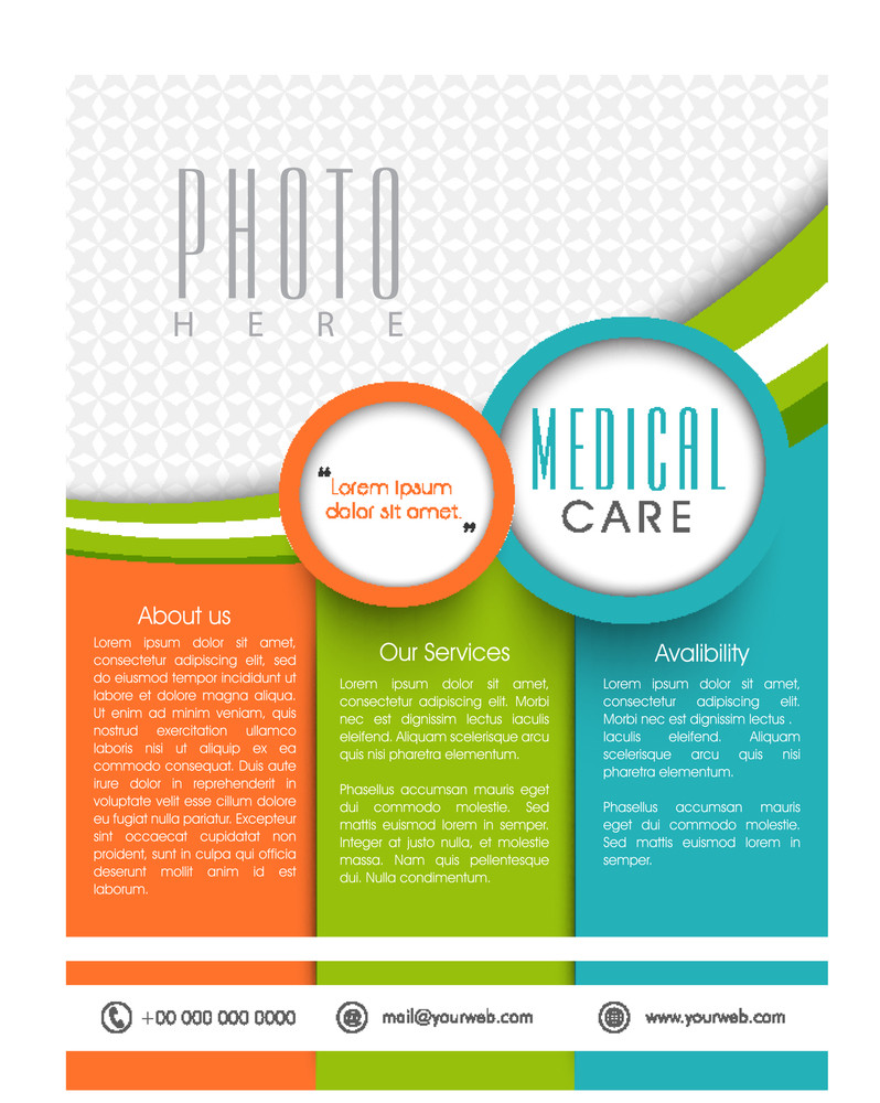Stylish Flyer Banner or Pamphlet for Medical Care concept.