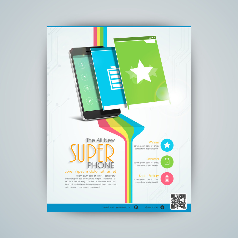 stylish flyer banner or template for mobile shop with smartphone and user interface layout presentation