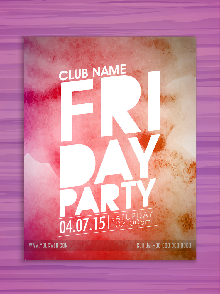 Stylish flyer banner or template with grungy colorful pattern for Friday Party celebration.