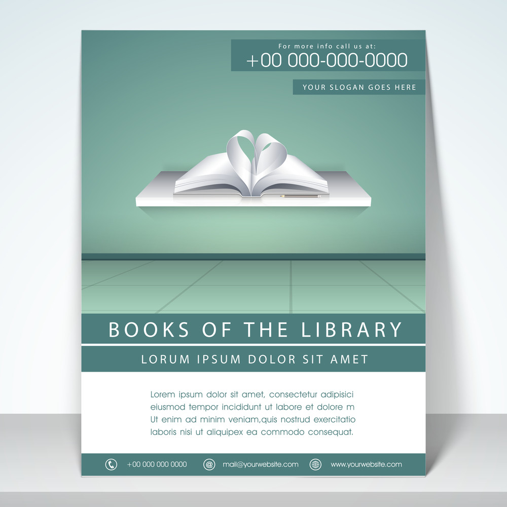 stylish flyer template and brochure for library with address bar and mailer
