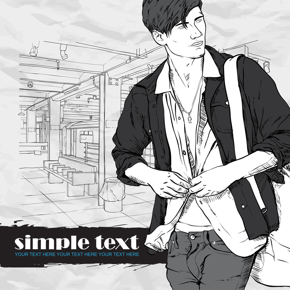 Stylish Guy At  Subway Station.  Vector Illustration