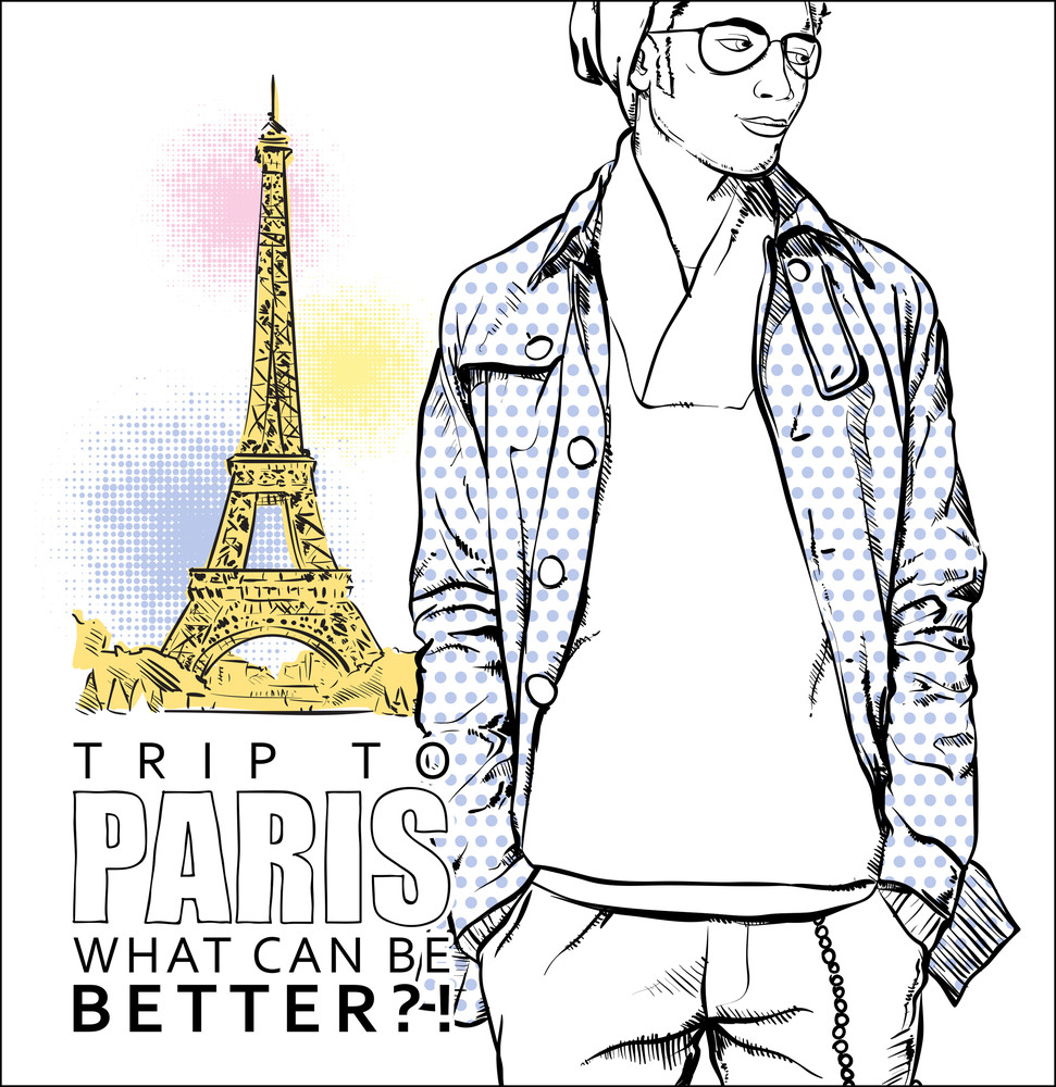 Stylish Guy On A Eiffel Tower Background. Vector Illustration