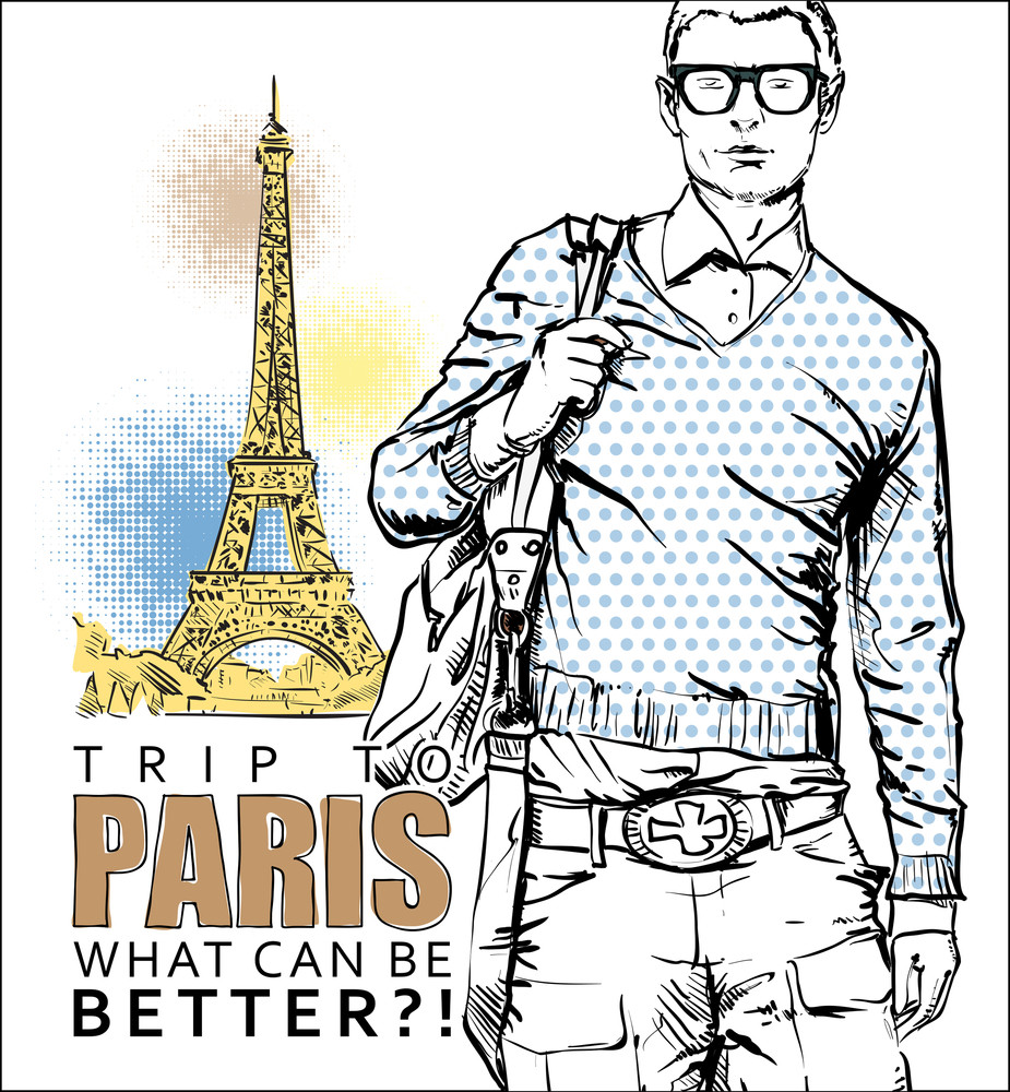 Stylish Guy On A Eiffel Tower Background. Vector Illustration