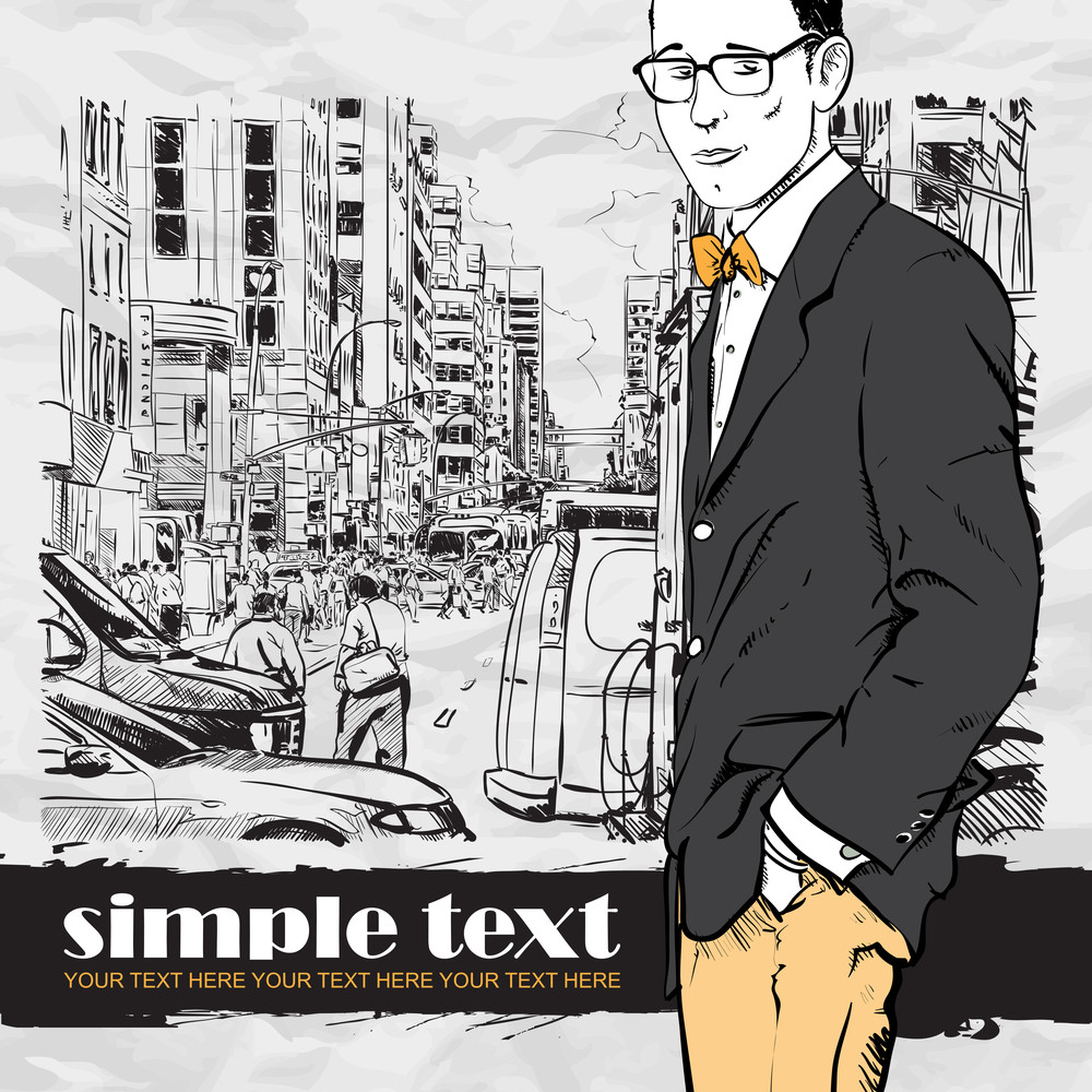 Stylish Guy On A Street Background.  Vector Illustration