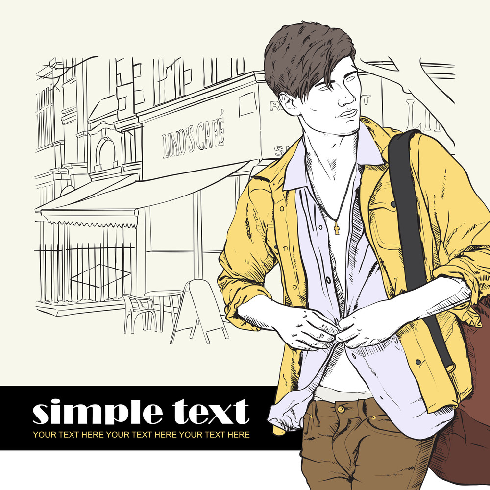 Stylish Guy With Bag  On A Street-cafe Background. Vector Illustration.