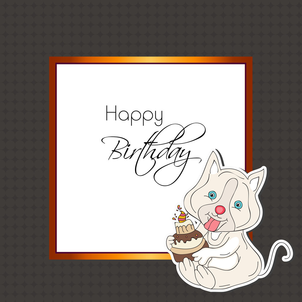 Stylish Happy Birthday Greeting Card With Little Pussy Cat Holding Delicious Cake