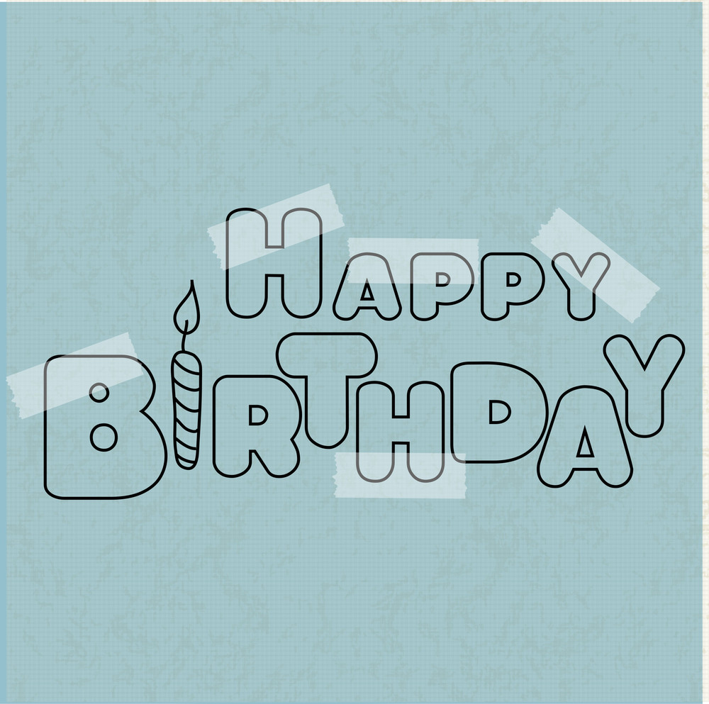 Stylish Happy Birthday Text Pasted On Grungy Blue Background