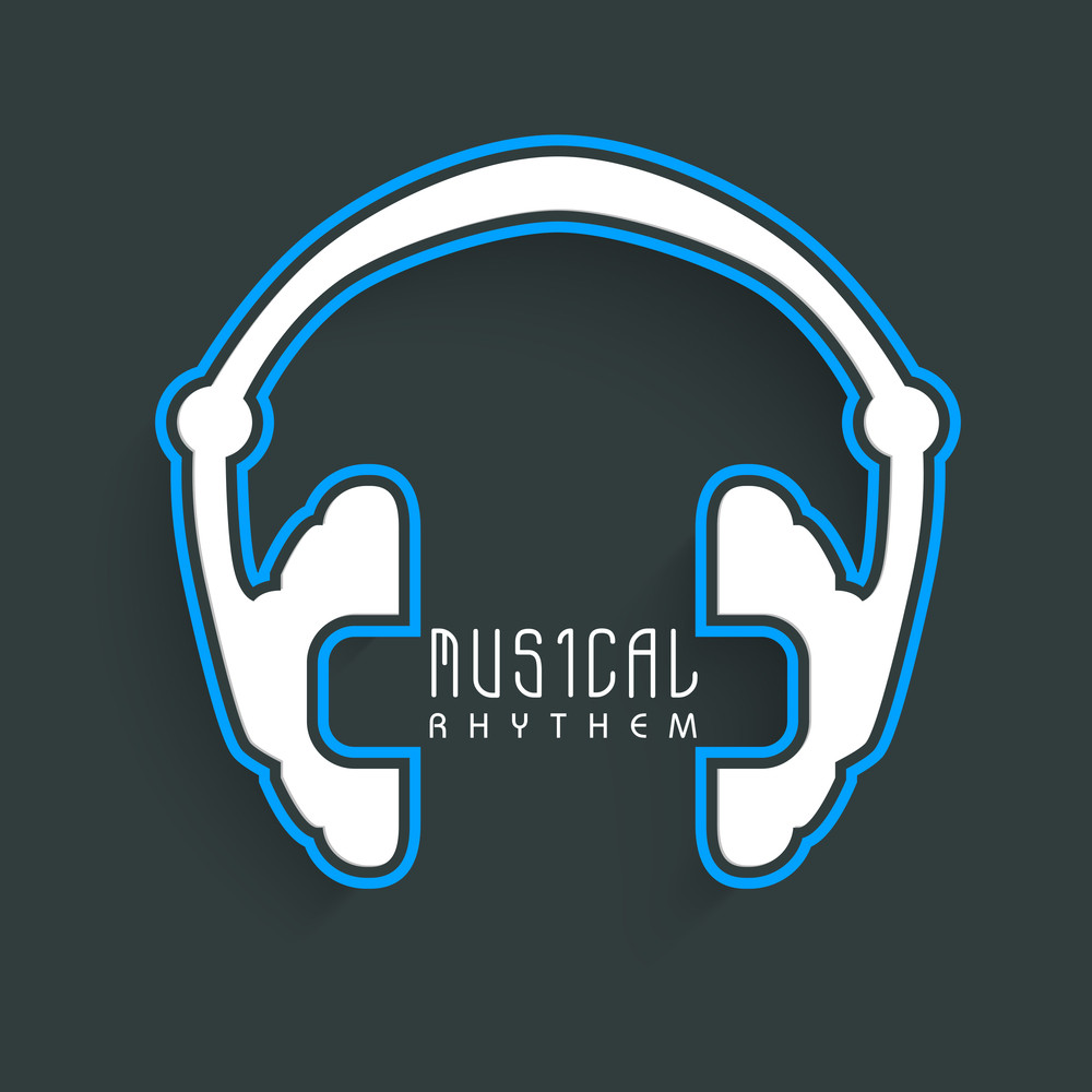 Stylish Headphone With Musical Anthem Text