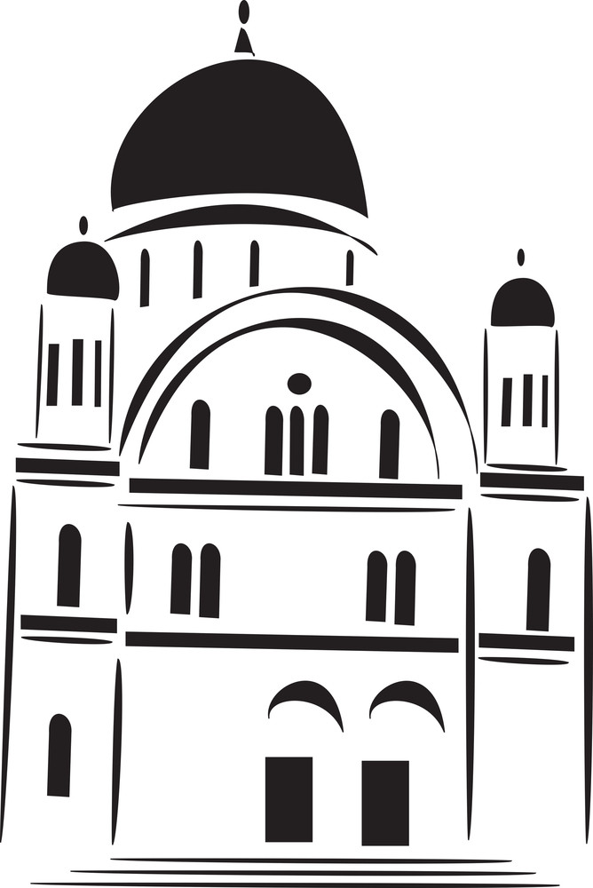 Stylish Jewish Church In Black And White.