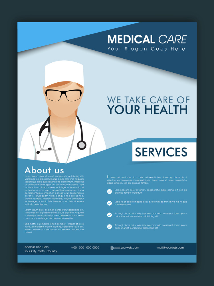 Stylish Medical Care template brochure or flyer design with proper place holders for your content.