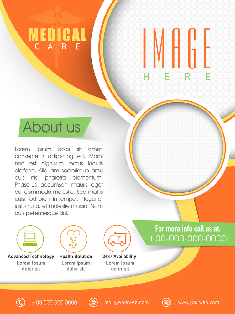 Stylish Medical Care Template Brochure or Flyer layout with place holders for image.