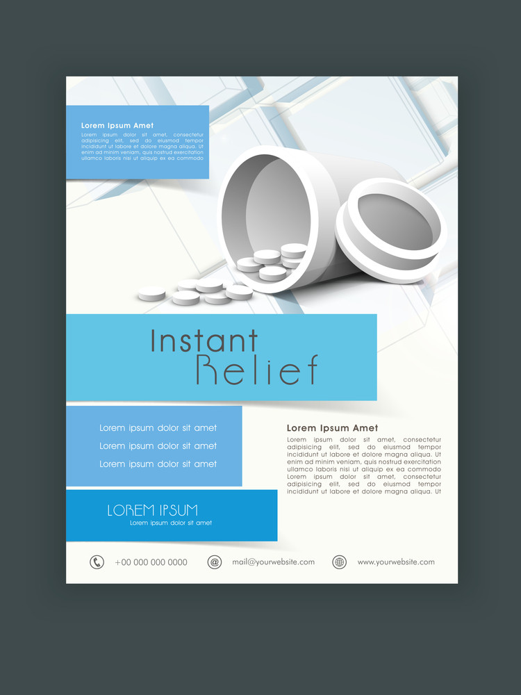 Stylish Medical Flyer Banner Or Template With Medicines Royalty