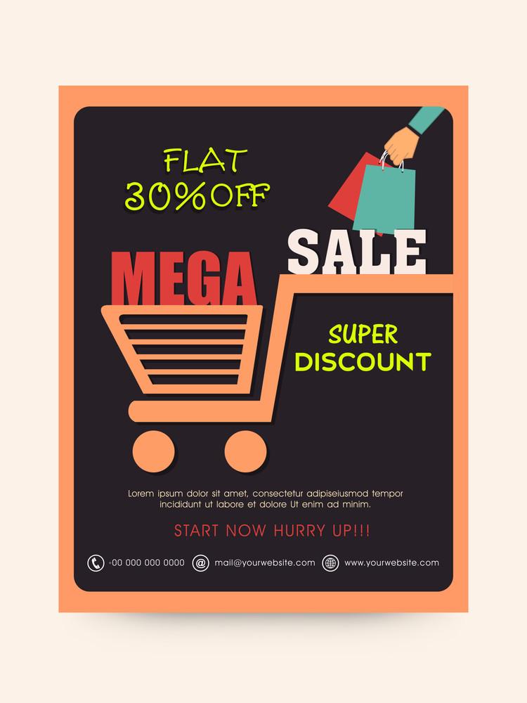 Stylish Mega Sale poster banner or flyer design with super discount offer.