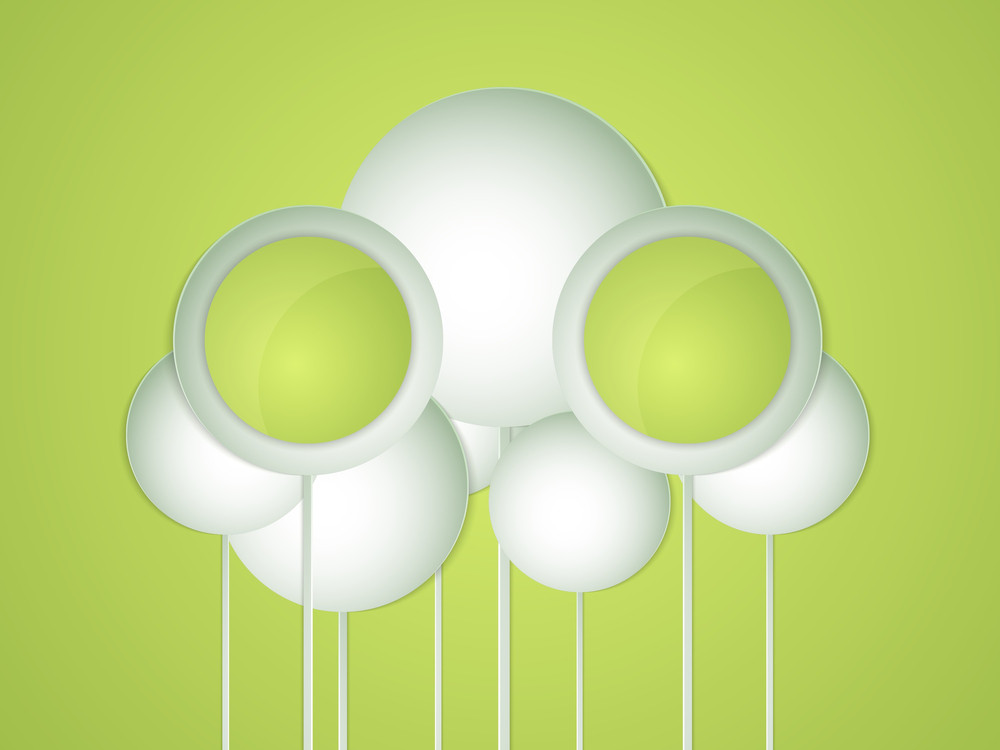 Stylish Nature Concept With Clouds And Space For Your Message On Green Background.