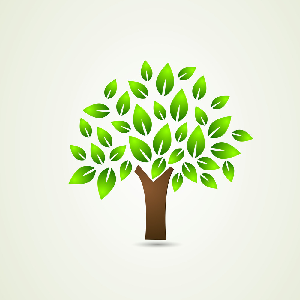 Stylish Nature Concept With Green Tree On Abstract