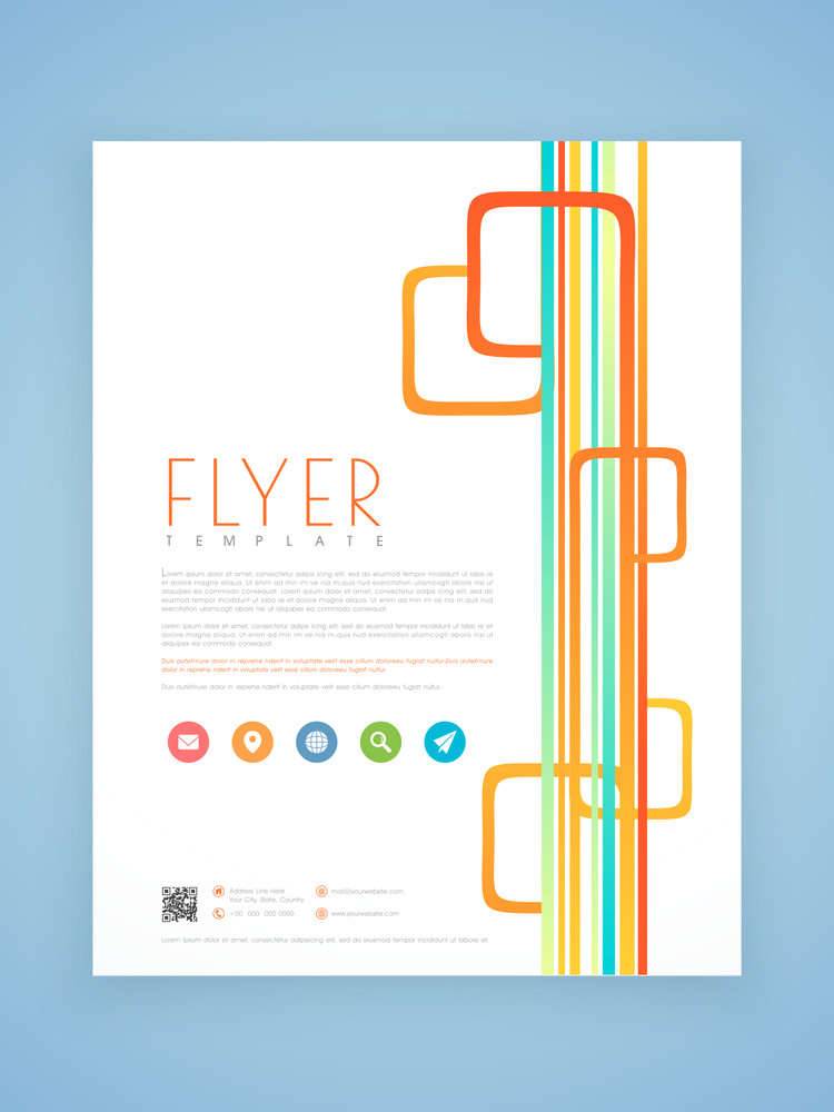 Stylish professional flyer template or brochure design with colorful lines for business purpose.