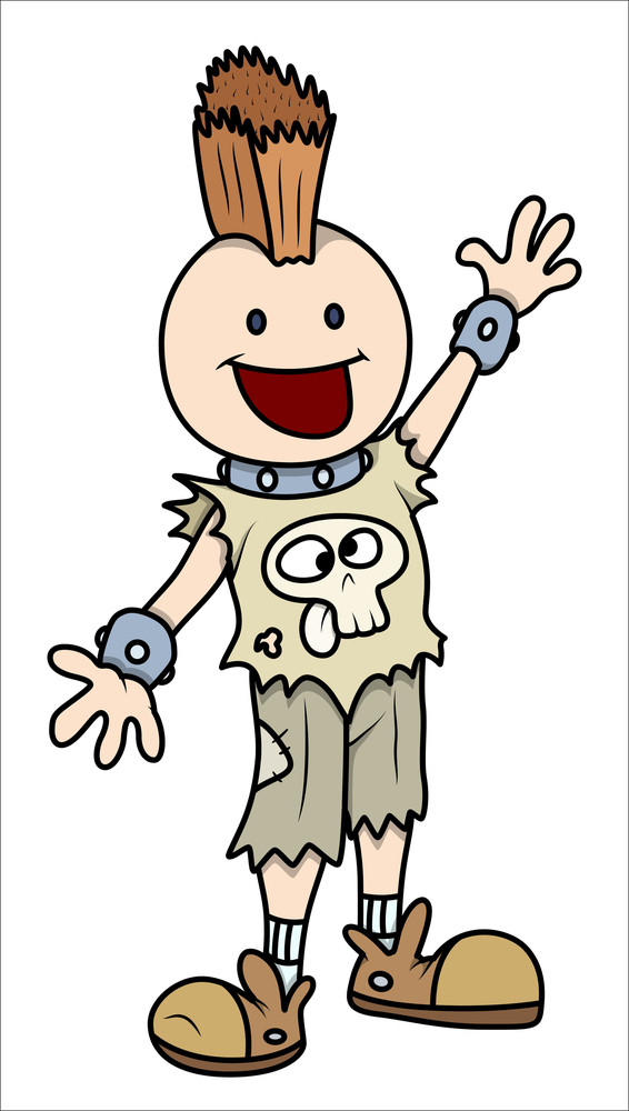 Stylish Rocking Kid - Vector Cartoon Illustration