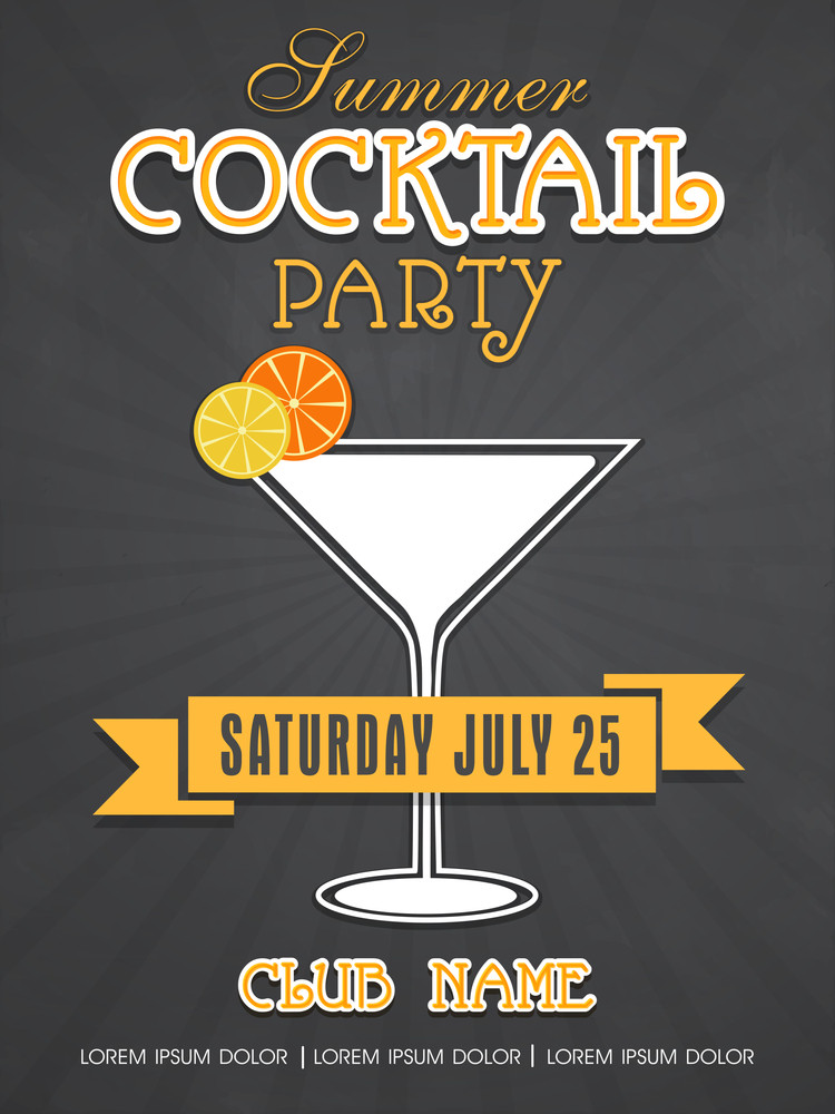 stylish summer cocktail party invitation card design with details