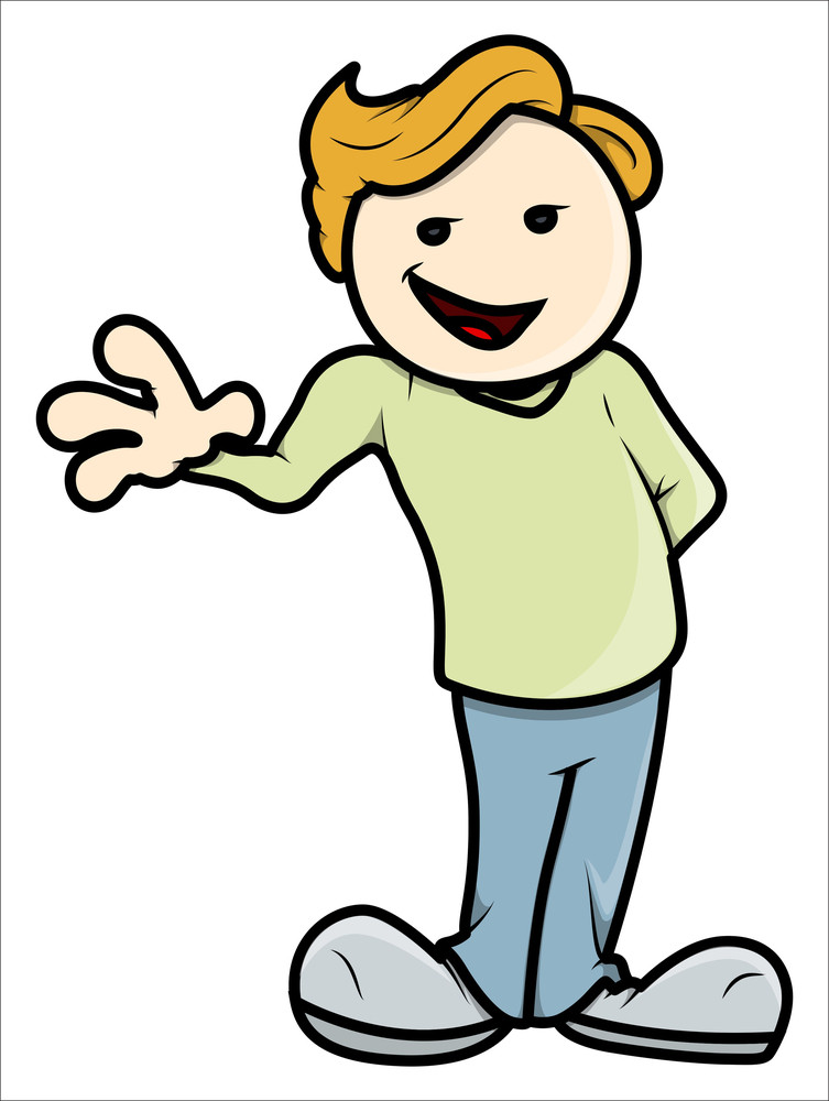 Stylish Teenage Kid Saying Hi - Vector Cartoon Illustration