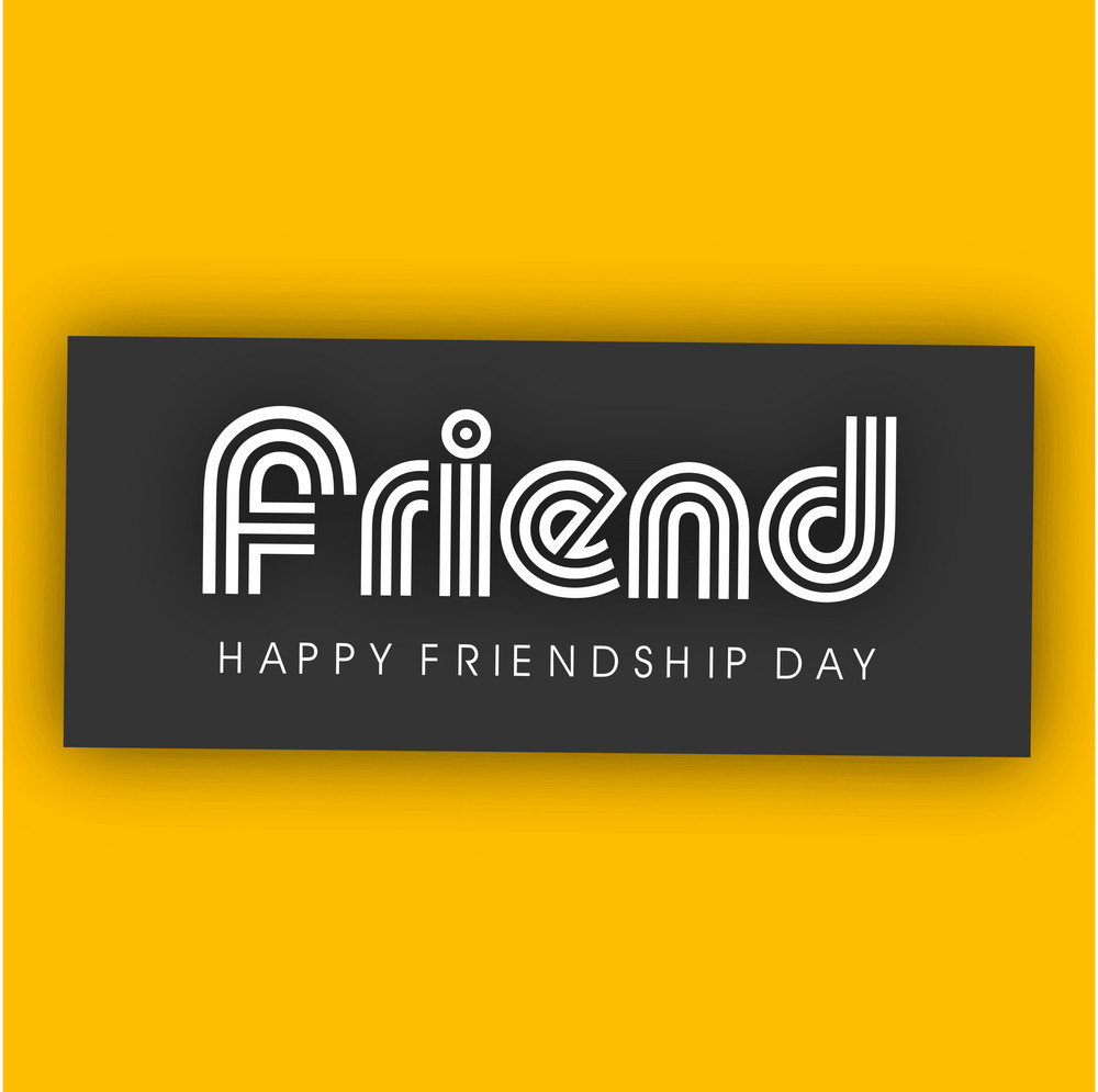 Stylish Text Friend On Yellow Background For Happy Friendship Day