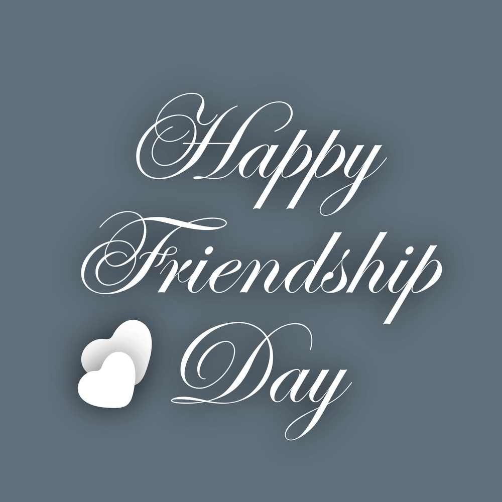 Stylish Text Happy Friendship Day On Grey Background