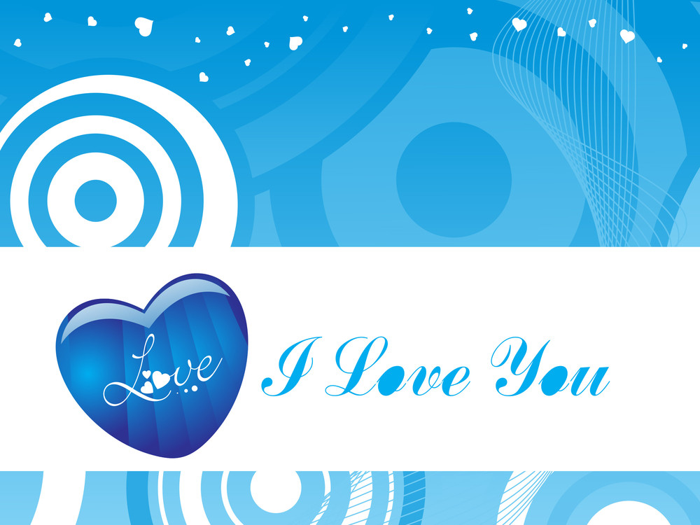 Stylish Vector Love Blue Wallpaper