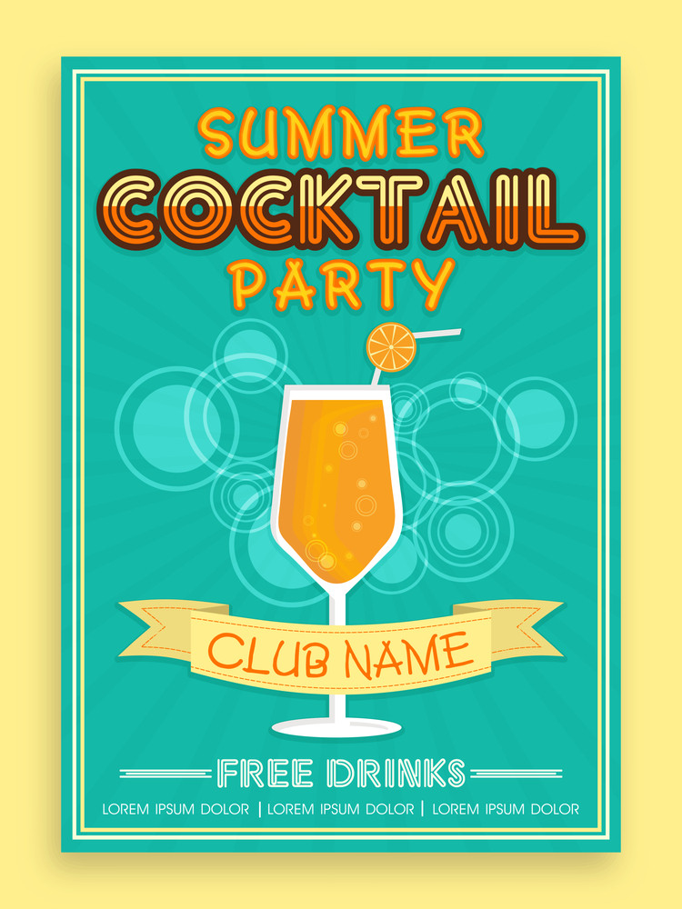 Stylish Vintage Invitation Card Design For Summer Cocktail