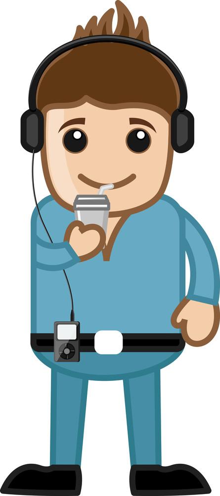 Stylish Young Boy Listening Music - Business Cartoons