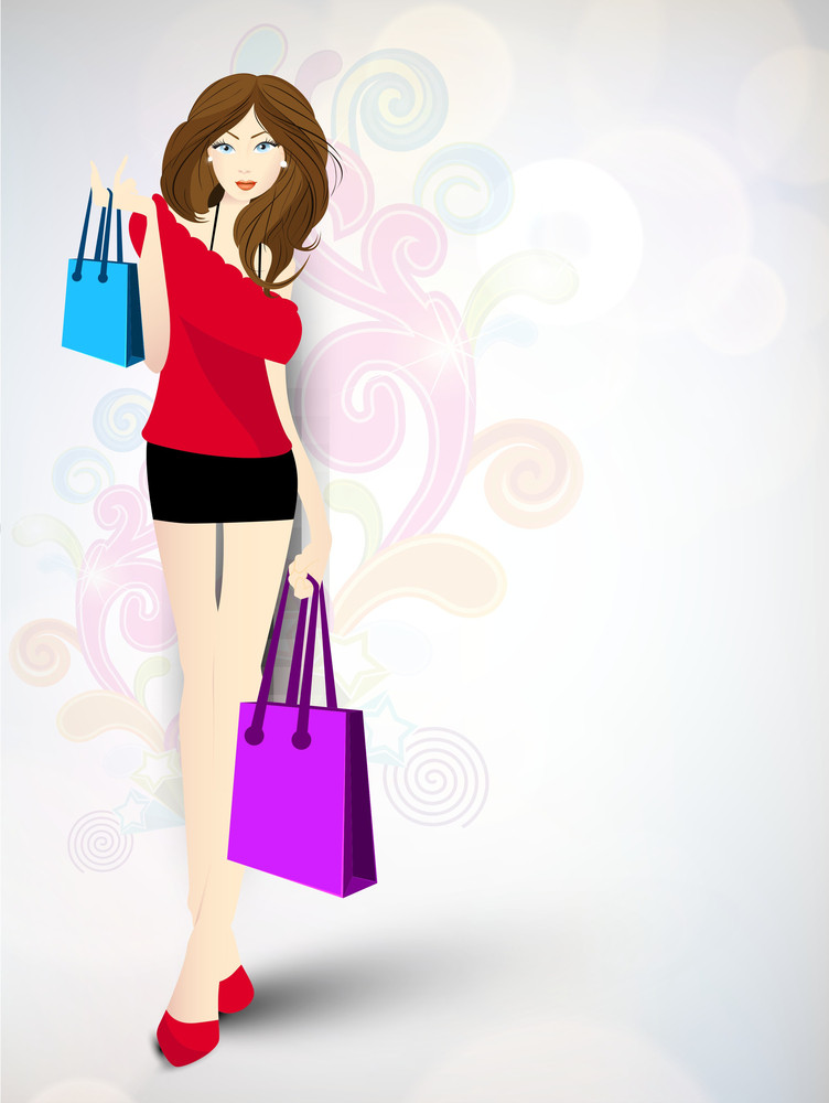 Stylish Young Girl Carrying Shopping Bags On Floral Background