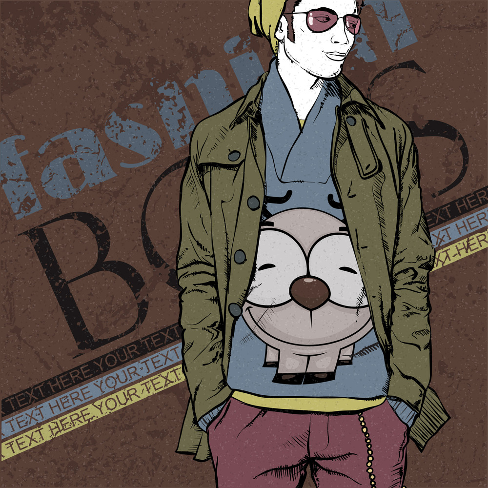 Stylish Young Guy On A Grunge Background. Vector Illustration.