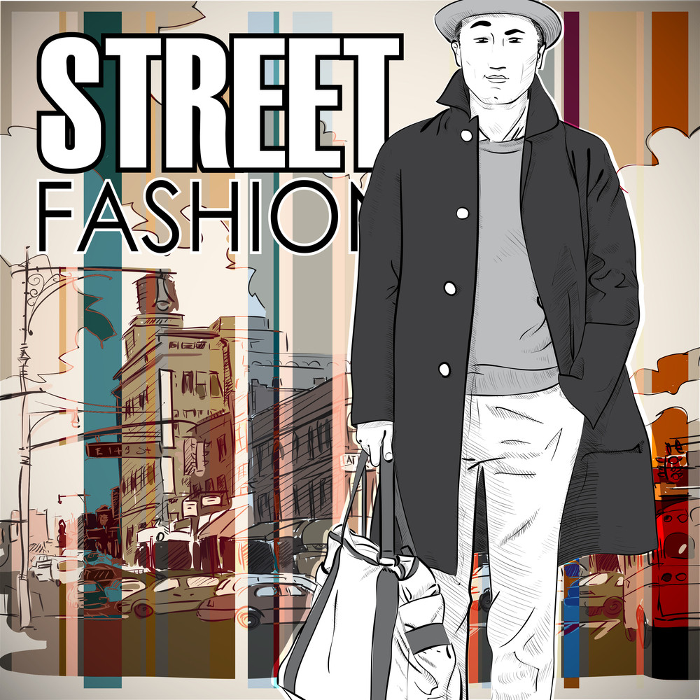 Stylish Young Guy  On A Street-background. Vector Illustration.