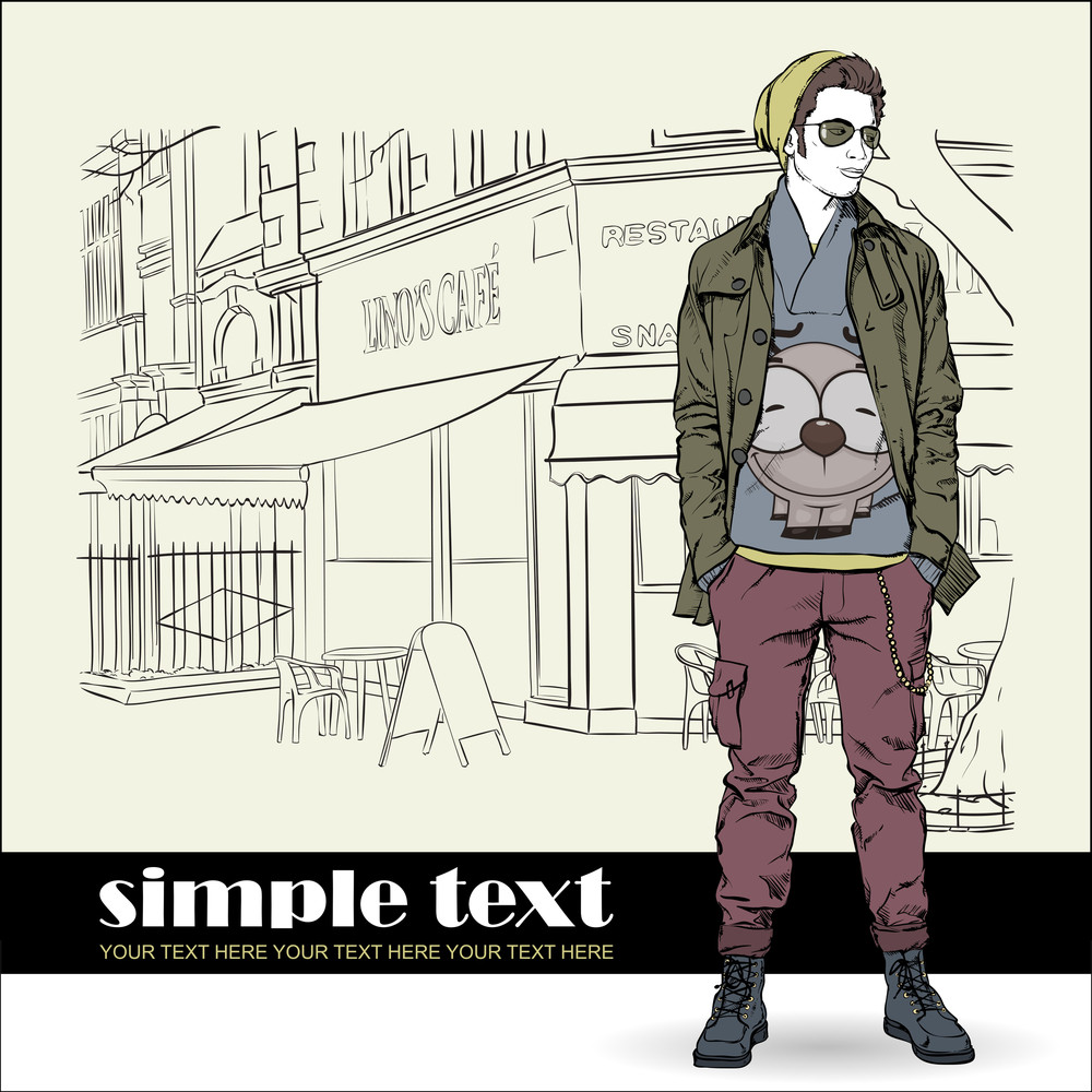 Stylish Young Guy On A Street-cafe Background. Vector Illustration.
