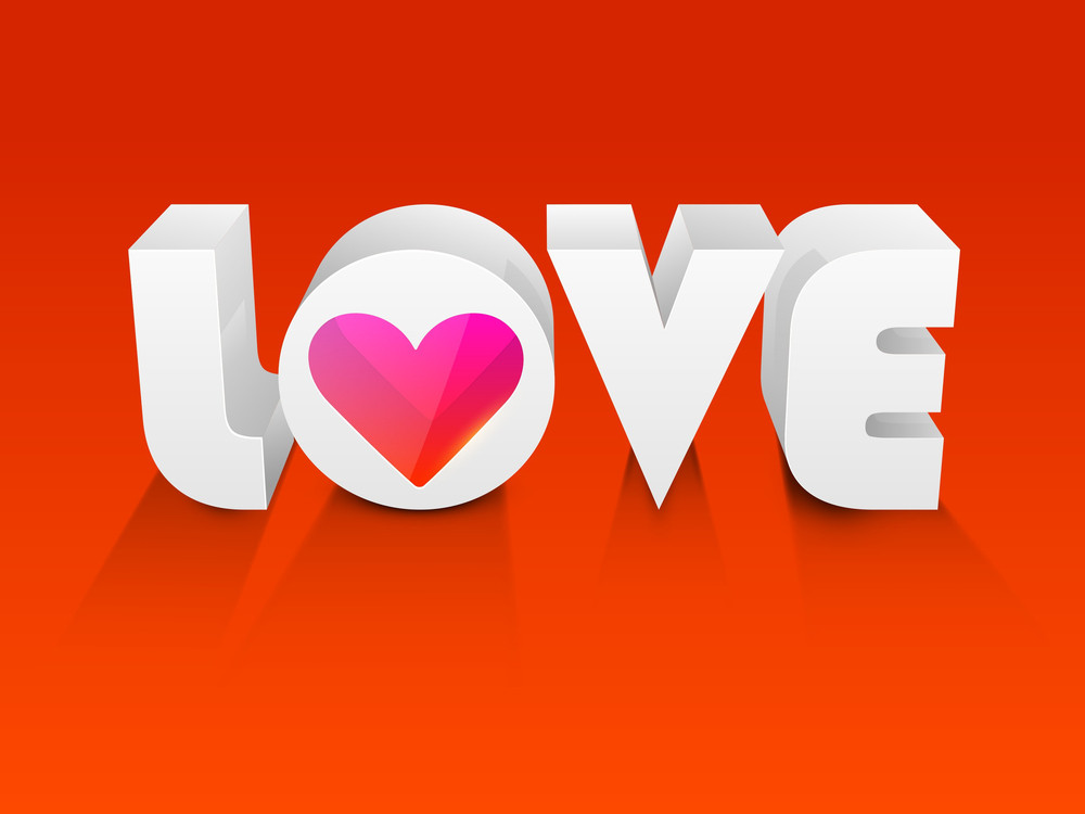 Stylized 3d Text Love On Red Background
