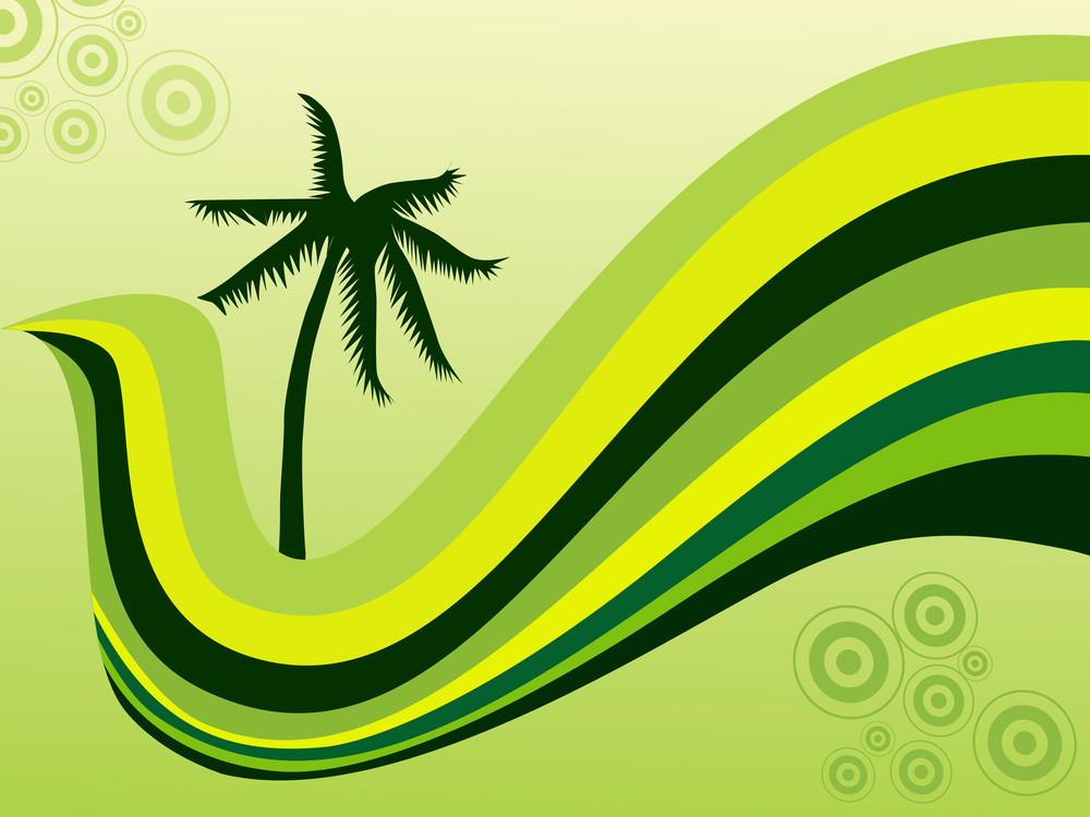 Stylized Background With Palm Tree And Wave Elements