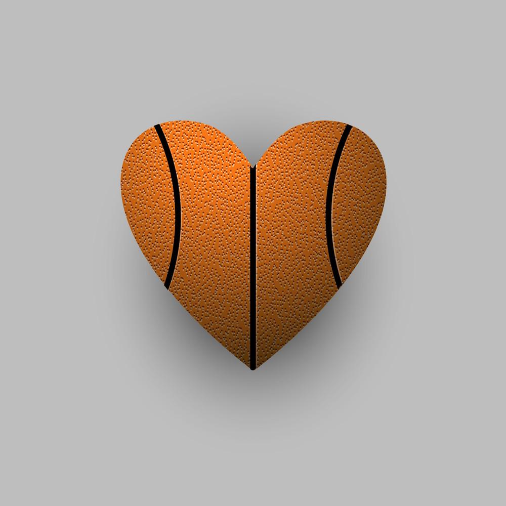 Stylized Basketball Ball - Heart