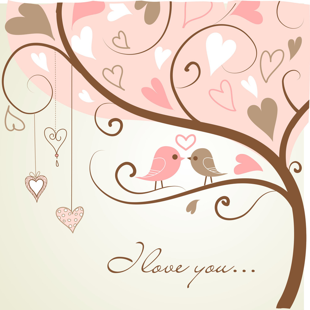 Stylized Love Tree Made With Two Birds In Love