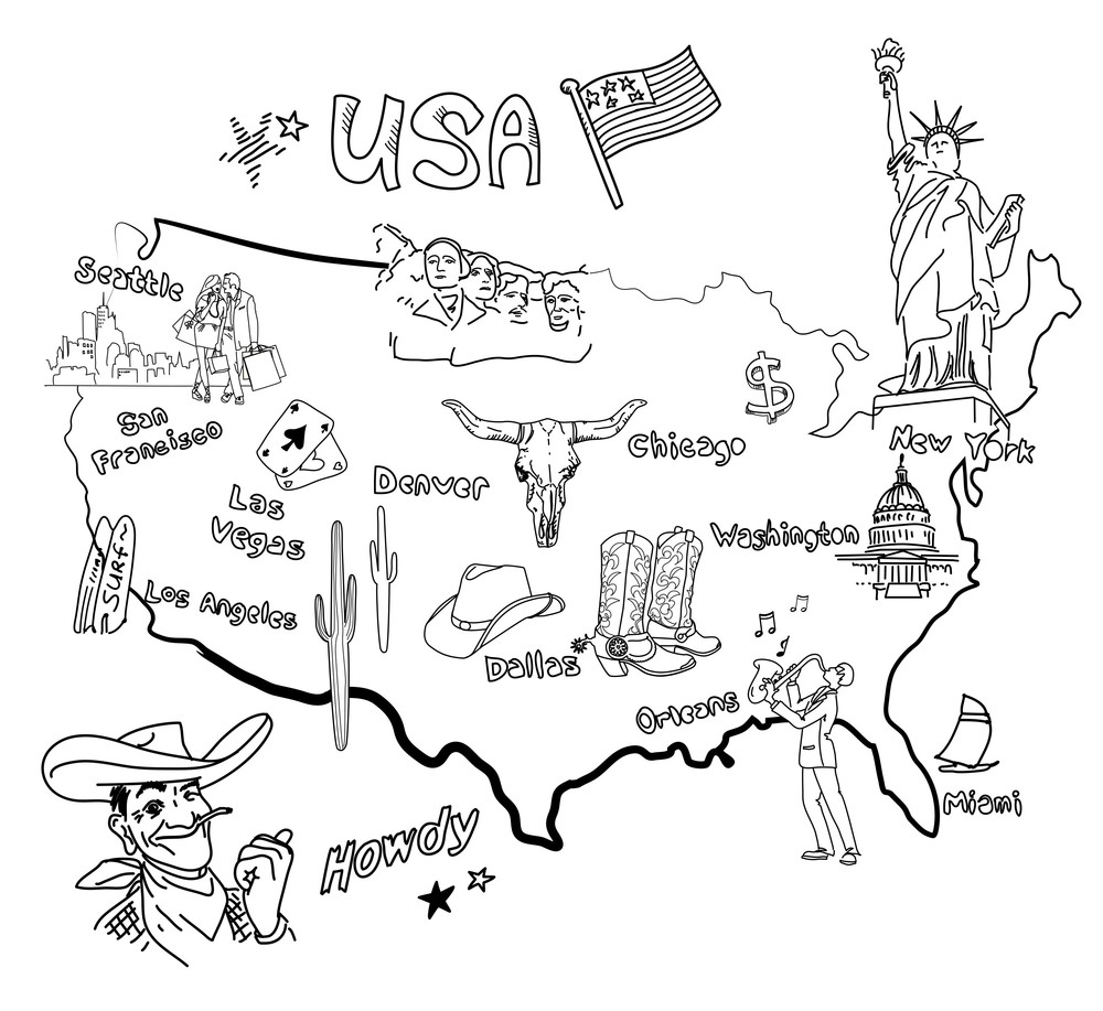 Stylized Map Of America. Things That Different Regions In Usa Are Famous For.