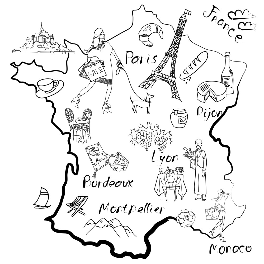 Map Of France Drawing.Stylized Map Of France Things That Different Regions In