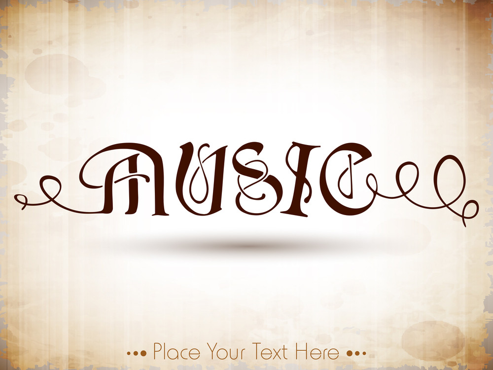 Stylized Retro Music Text.