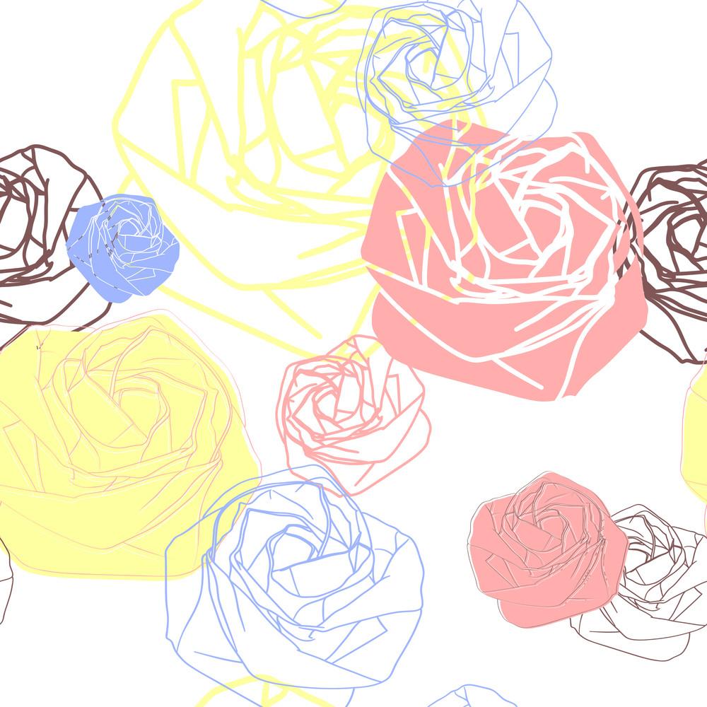 Stylized Rose Seamless Pattern.