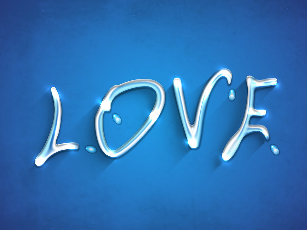 Stylized Text Love On Blue Background