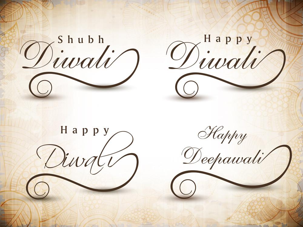Stylized Typography Of Text Happy Diwali.